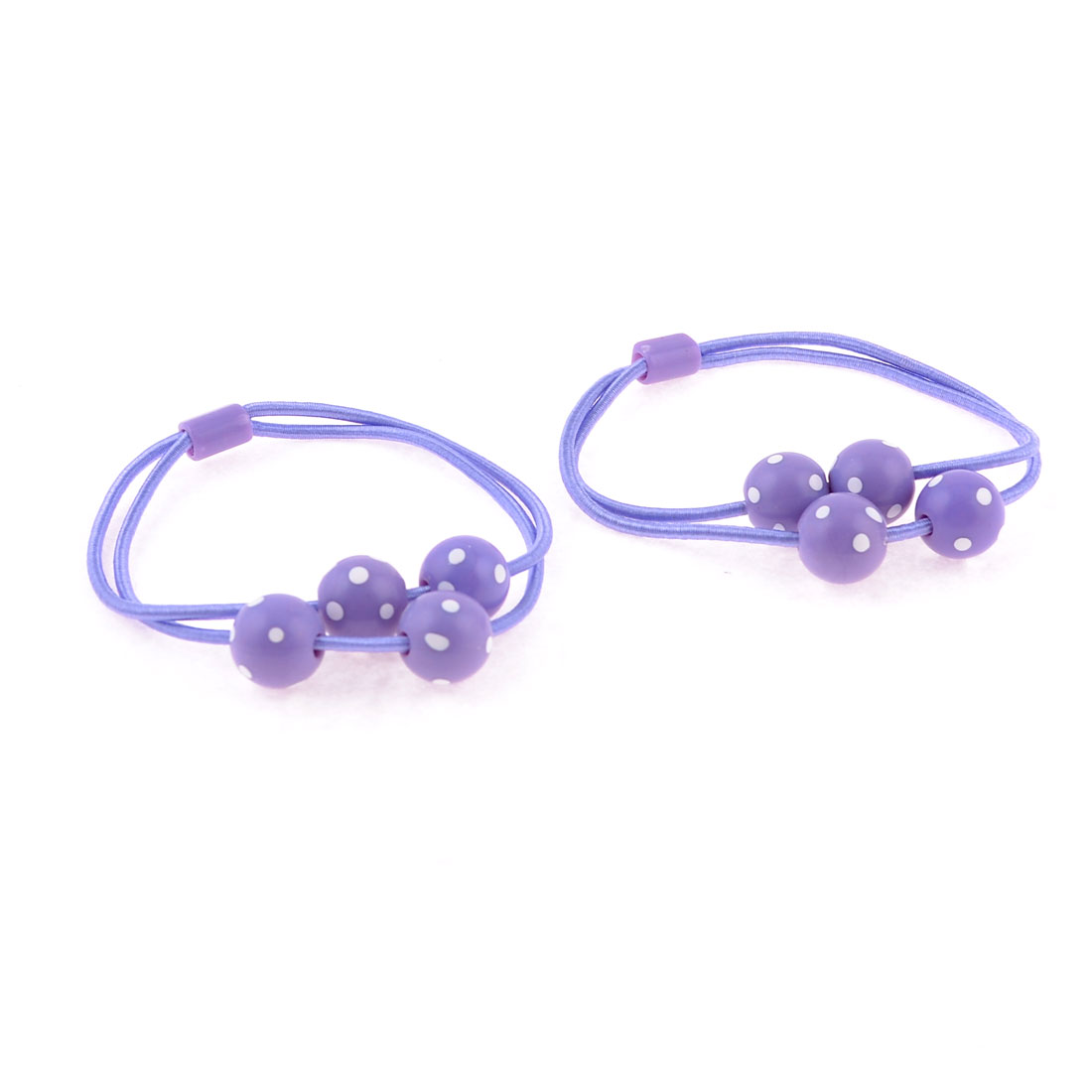 Light Purple White Dotted Round Beads Decor Elastic Hair Tie Ponytail Holder Pair