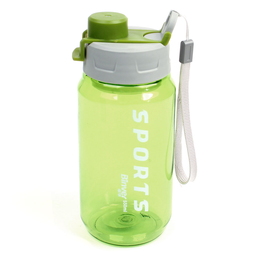 Clear Green Handheld Plastic Hiking Travel Sports Water Bottle 550ML