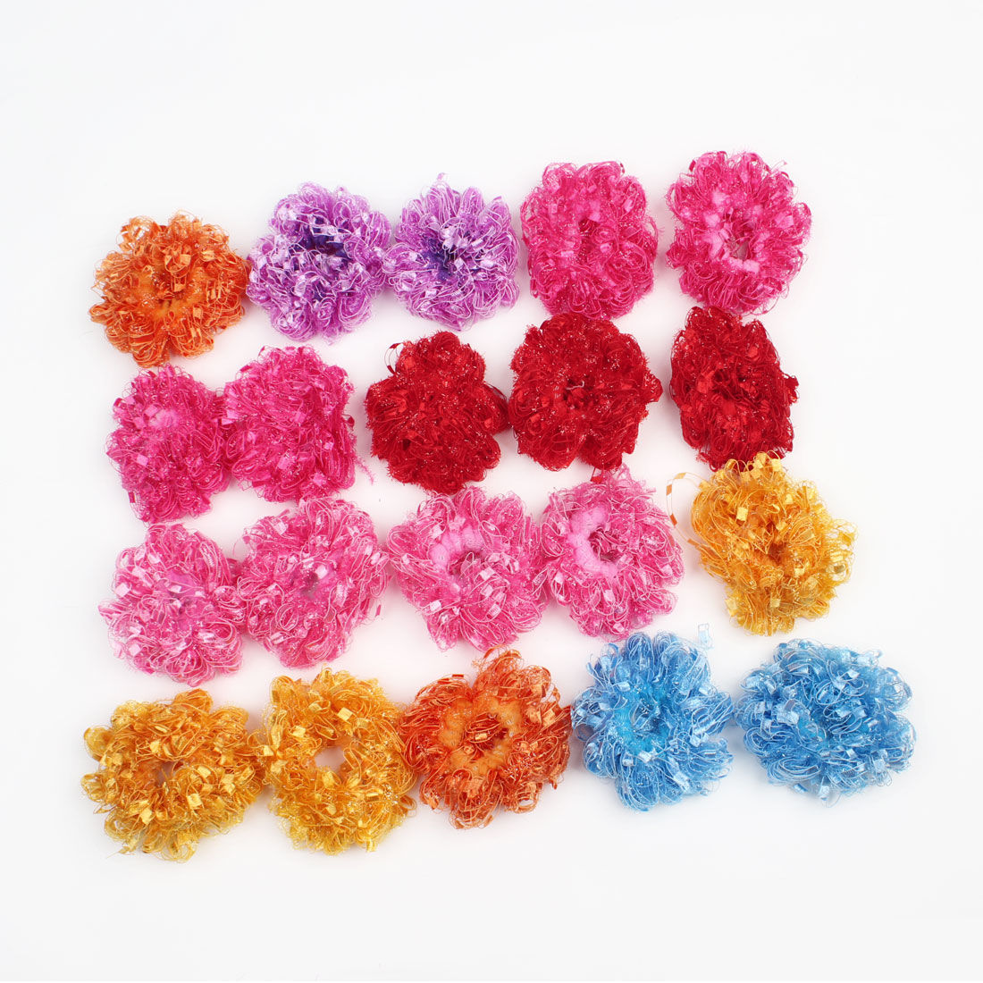 20 Pcs Colorful Ruffle Flowers Elastic Ponytail Holder Hair Tie for Ladies