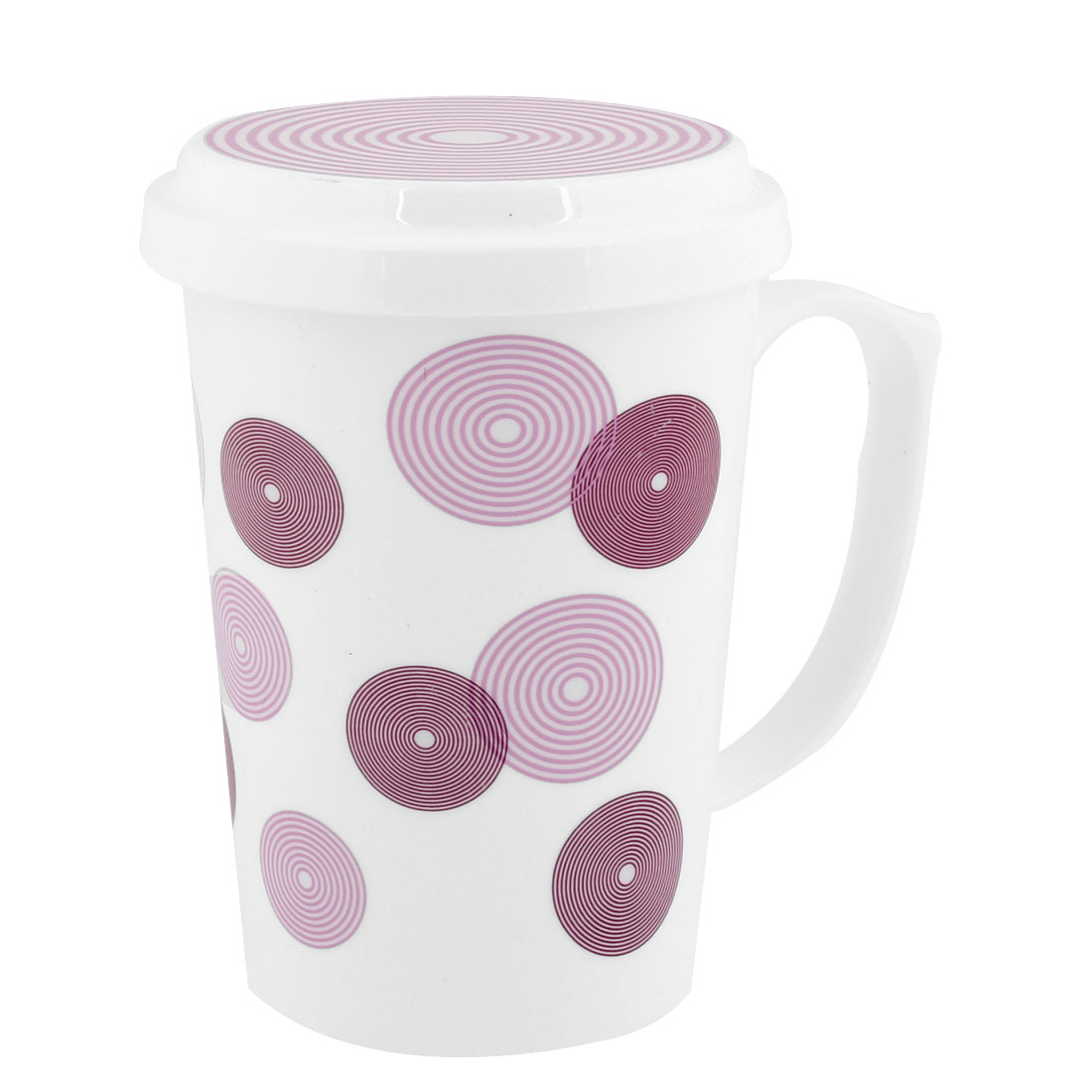 400ml Plastic Pink Circle Pattern Tea Cup w Cover