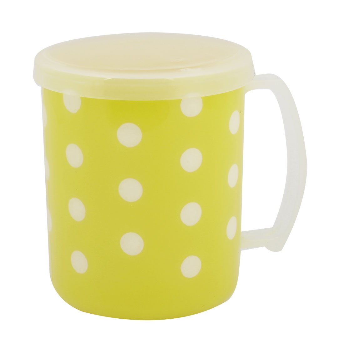 250ml White Dot Pattern Plastic Water Cup w Round Lid