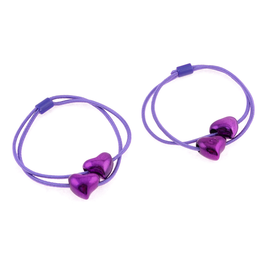 Purple Glittery Heart Bead Decor Elastic Hair Band Ponytail Holder Pair