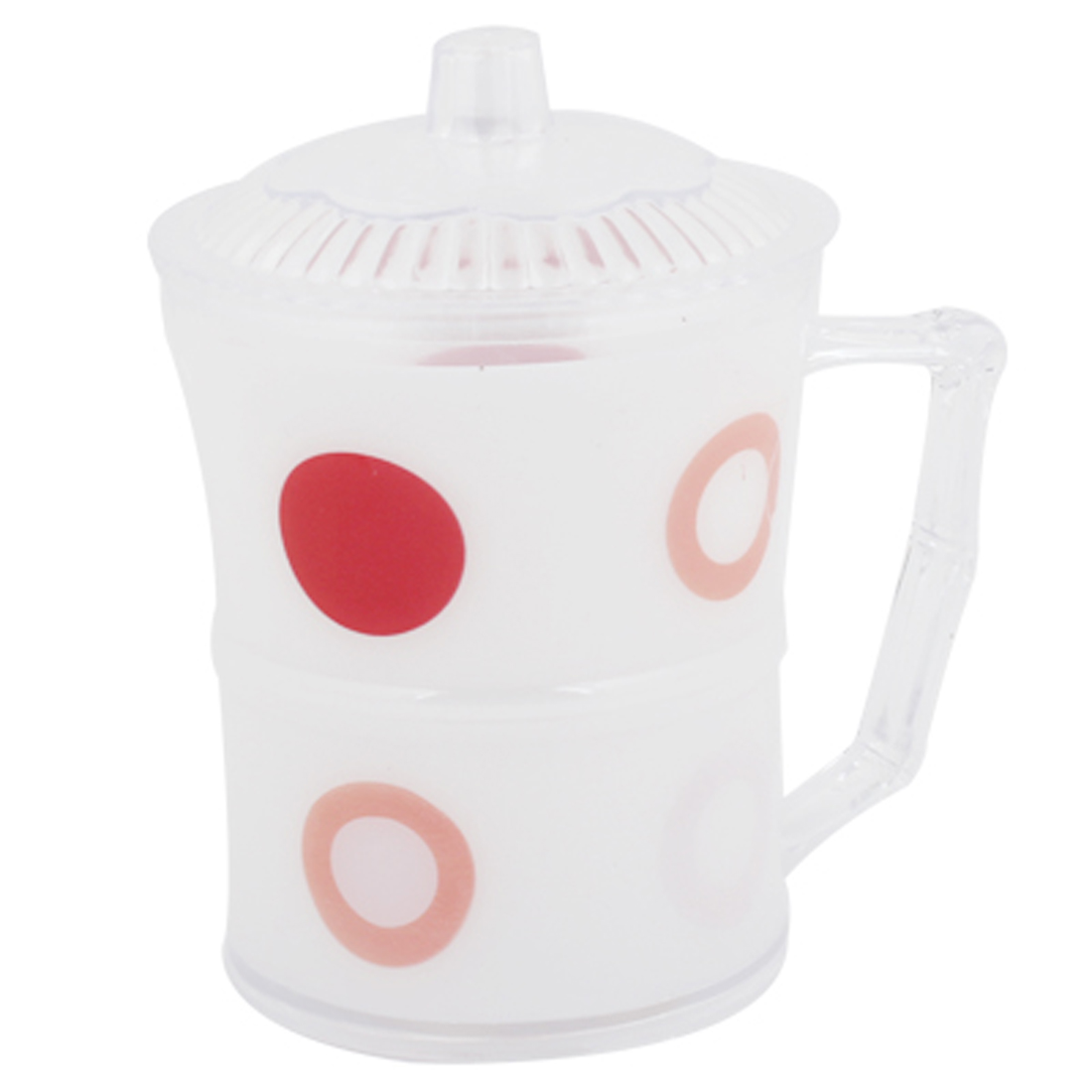Red Circle Pattern White Plastic Dot Print 250ml Water Cup w Handle