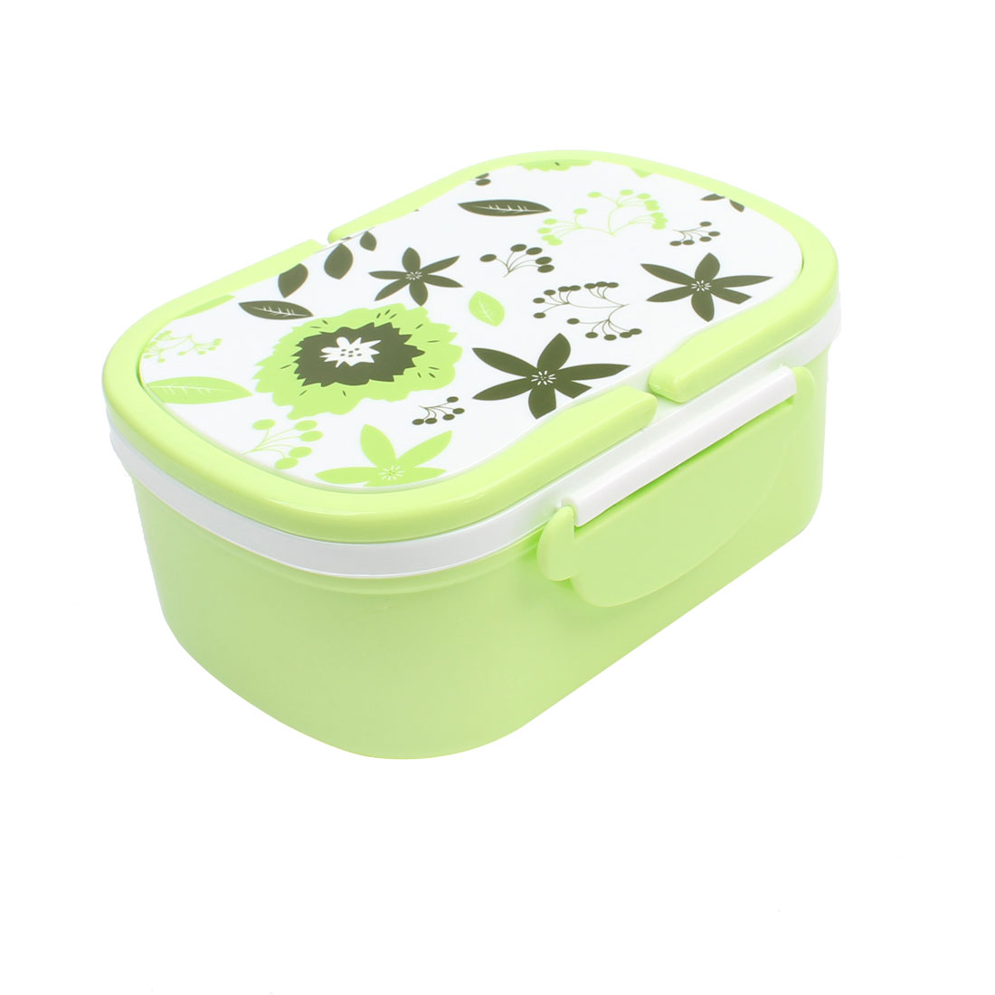 Press Button Airtight Design Light Green Plastic Lunch Box w Spoon