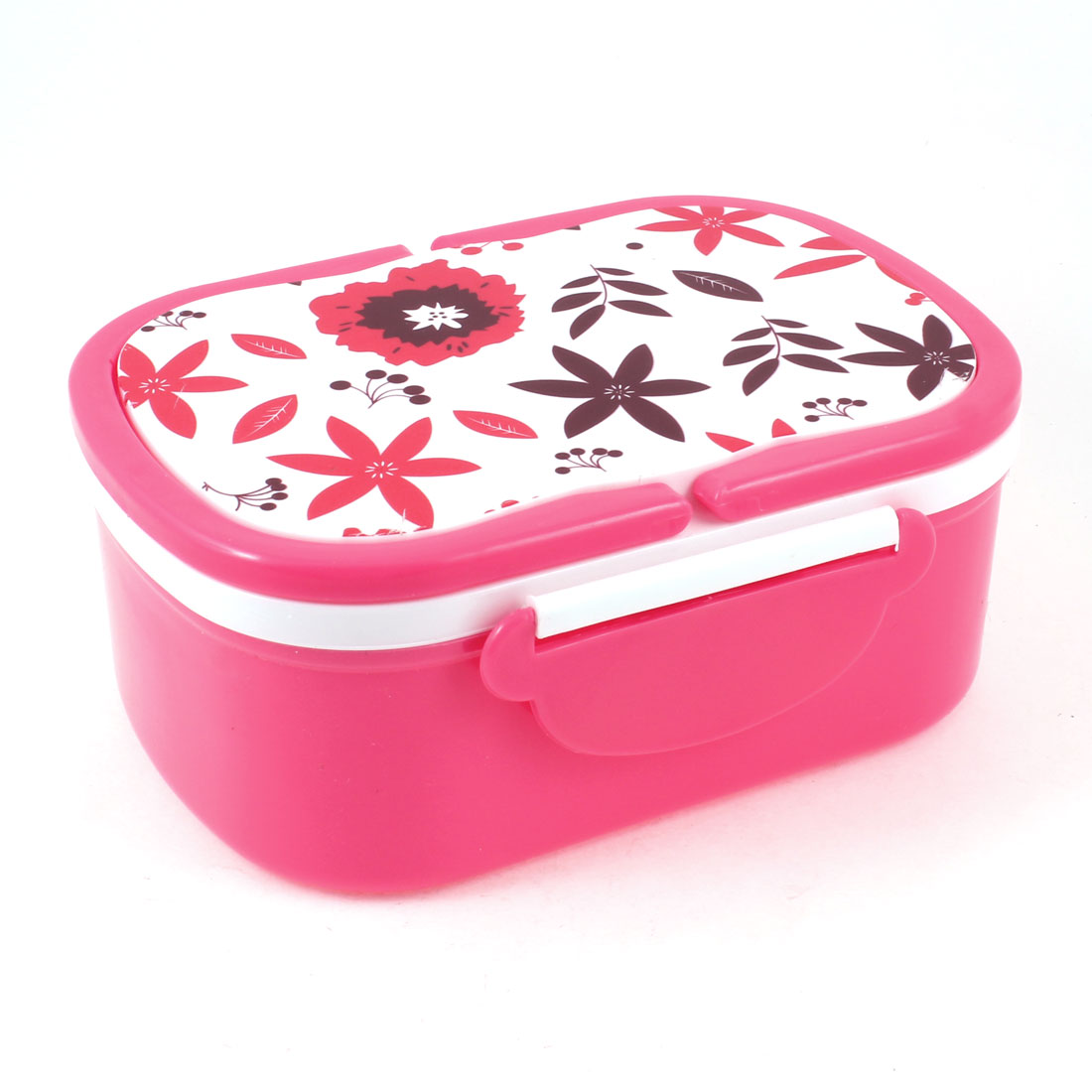 Leaves Pattern Salmon Pink Rectangle Dinner Bucket Box w Spoon