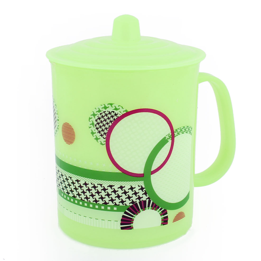 240ml Green Circle Pattern Plastic Water Cup w Round Lid