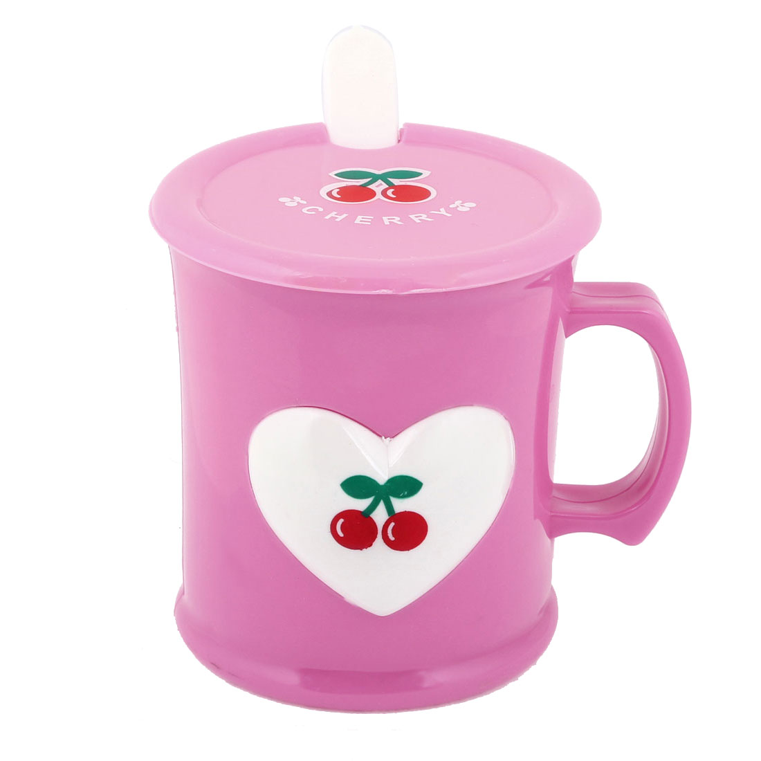 Pink White Plastic Cherry Print Design 240ml Water Cup w Spoon