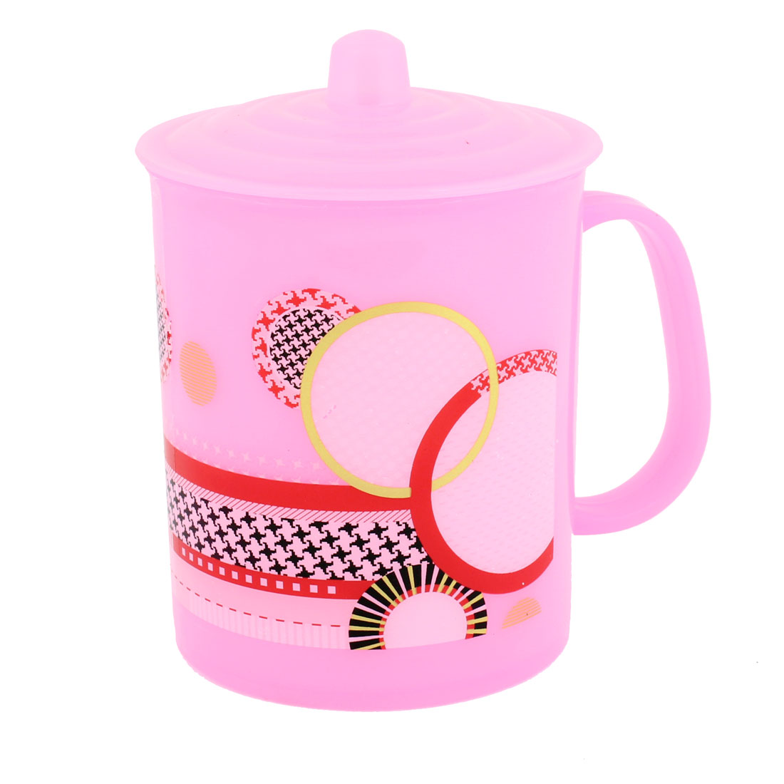 Pink Plastic Circle Print Design 240ml Water Cup w Handle
