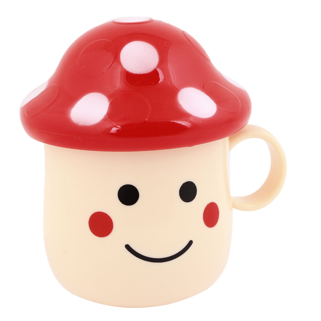280ml Beige Red Mushroom Shaped Plastic Tea Cup w Cover