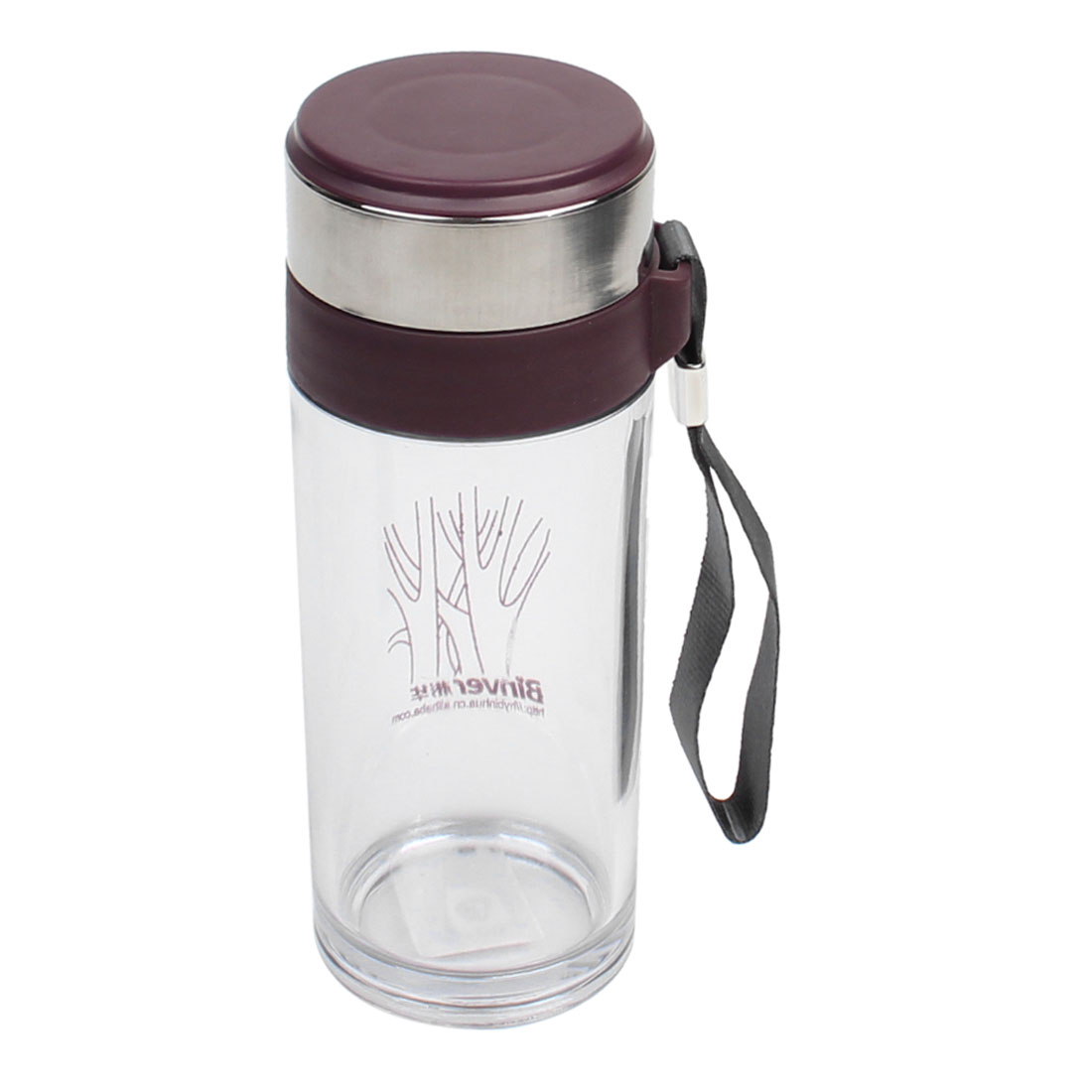 280ml Capacity Tree Letter Pattern Eggplant Color Lid Clear Travel Sport Tea Cup