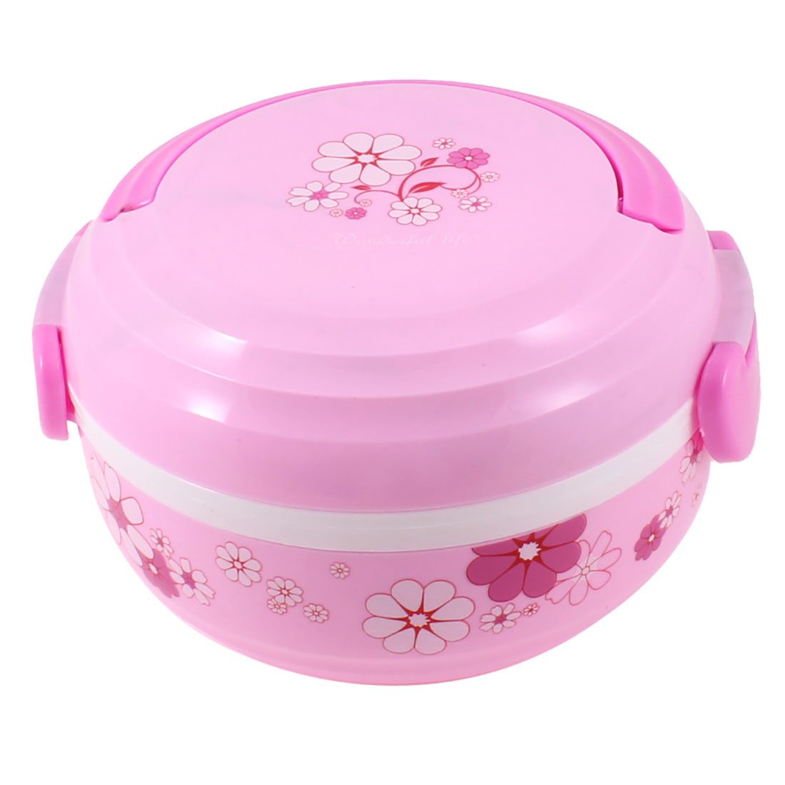 Round Shaped White Pink Plastic Food Dish Container Lunch Box w Spoon