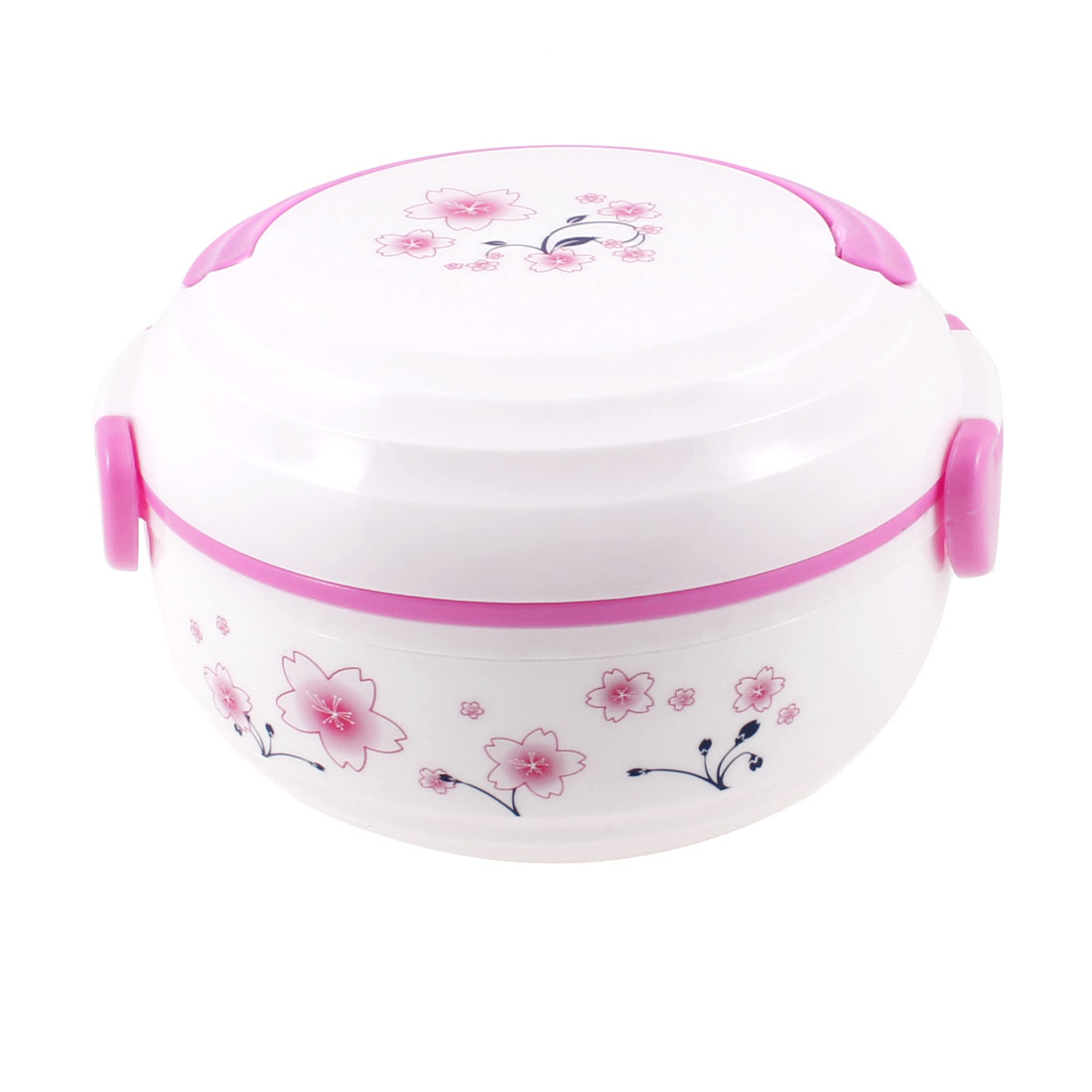 Double Layers Flower Print Dark Pink White Plastic Container Lunch Box w Spoon