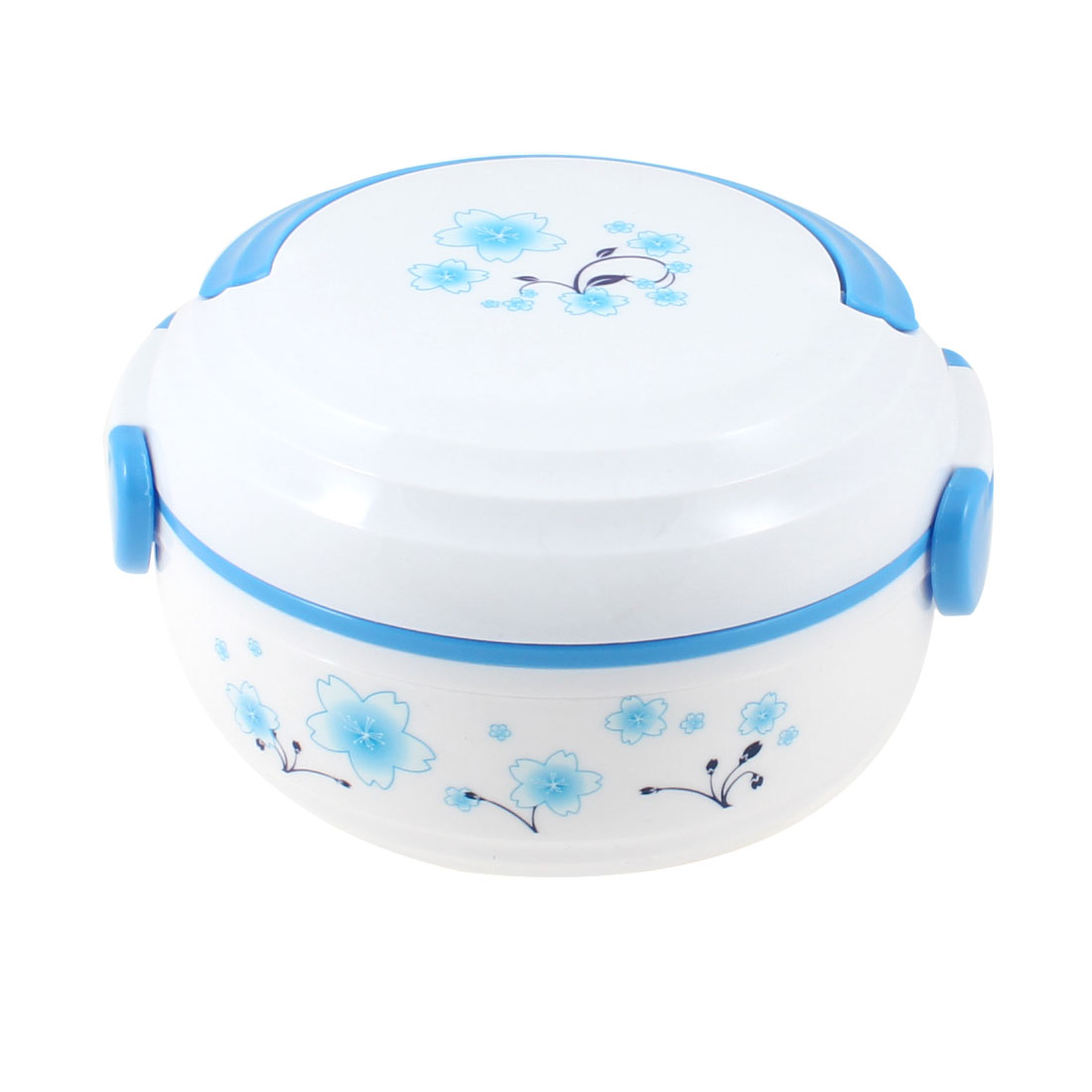 Double Layers White Lid Flower Print Plastic Container Lunch Box w Spoon