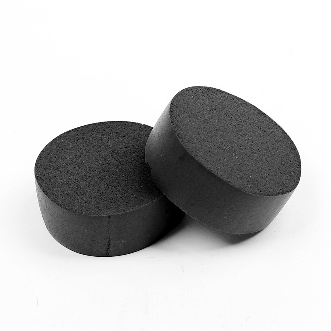 2 Pcs Black Round Shape Cosmetic Powder Puff for Lady