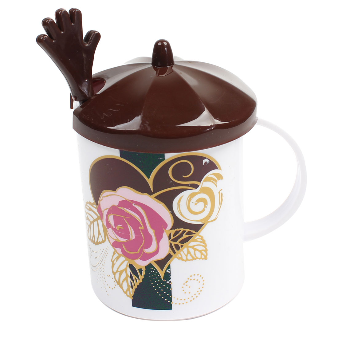 300ml Chocolate Color Lid Rose Pattern White Water Cup w Spoon
