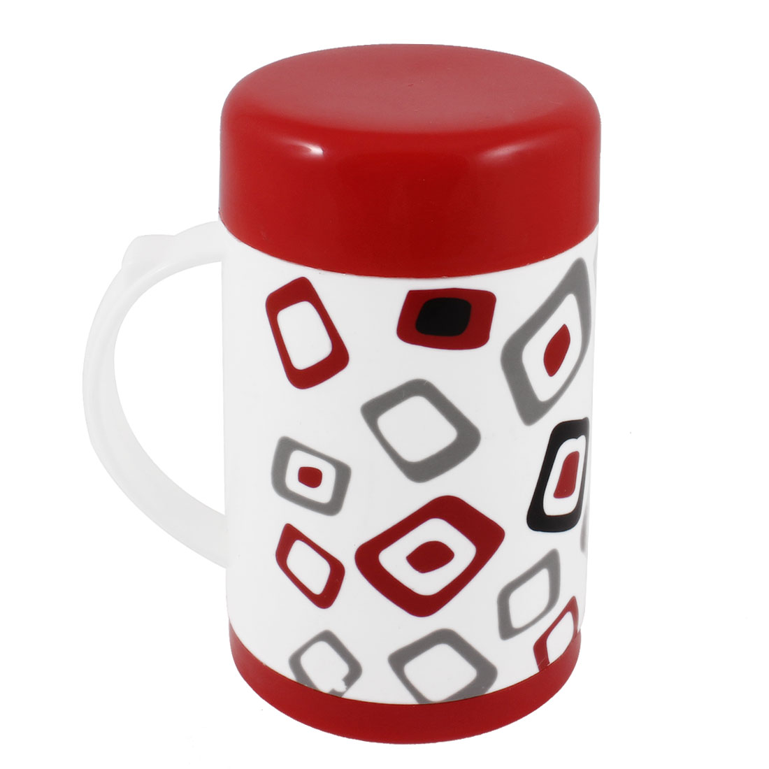 350ml Capacity White Red Plastic Tea Coffee Vacuum Flask Bottle