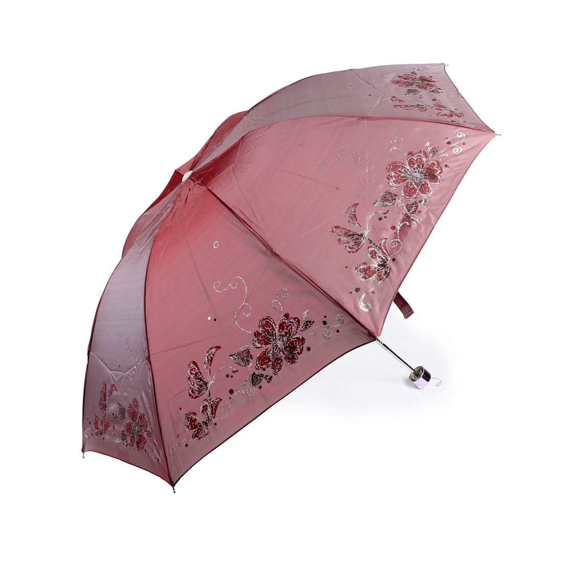 Outdoor Fishing Camping Flower Pattern Folding Umbrella Burgundy