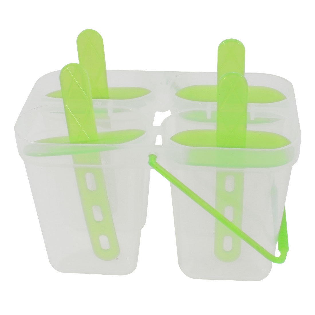 Kitchen Light Green Clear Plastic 4 Compartments DIY Ice Cream Mould Cube Tray
