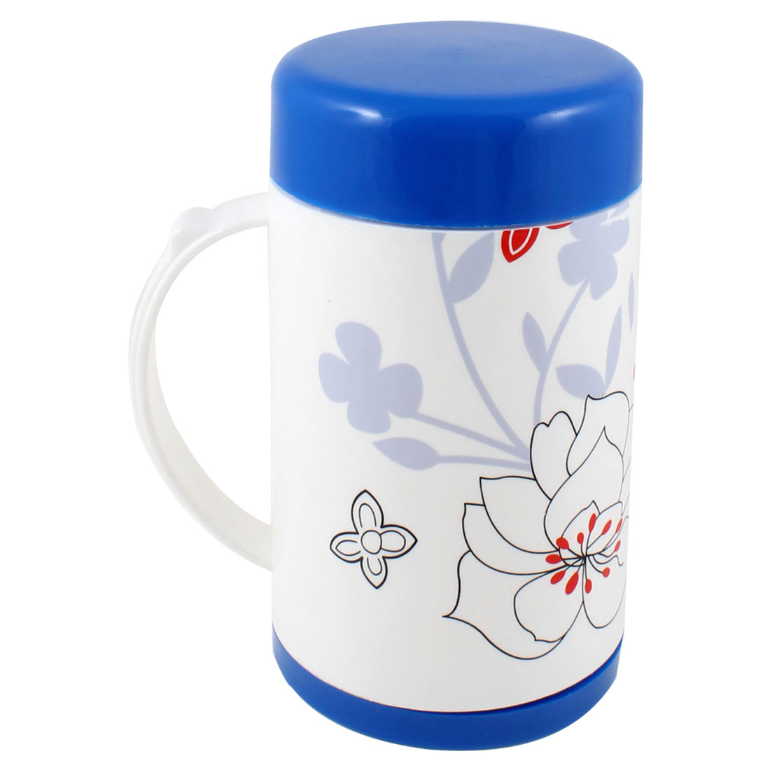 Plastic Portable Handle White Blue Tea Coffee Vacuum Flask Bottle 600ml