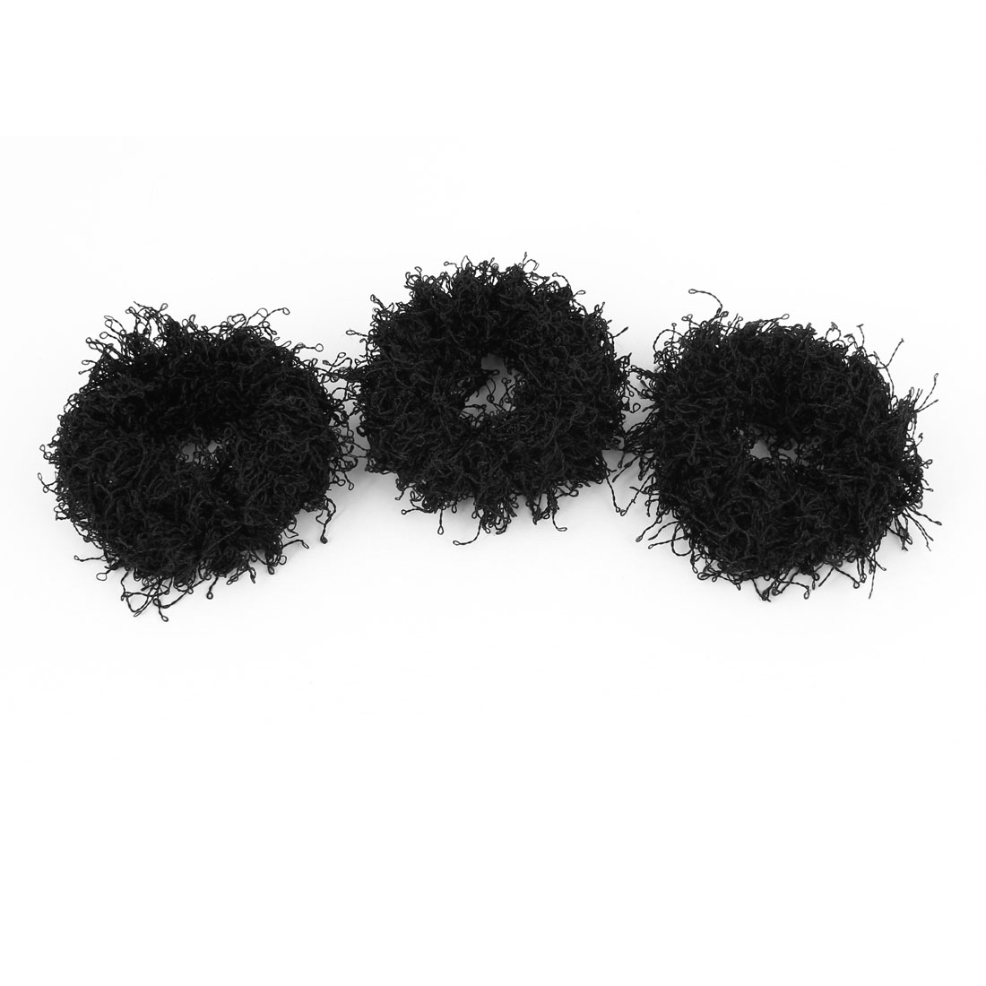 3 Pcs Black 3cm Width Nylon Elastic Fabric Ponytail Tie for Woman