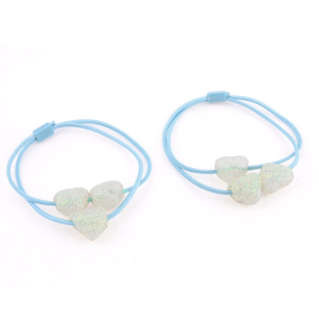Light Blue Shiny Heart Bead Decor Stretch Hair Tie Ponytail Holder Pair