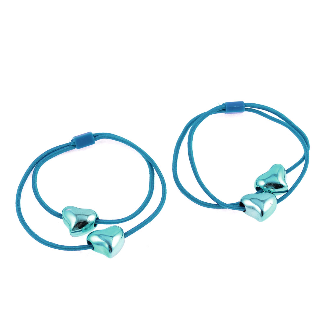 Turquoise Bright Heart Bead Accent Stretch Hair Tie Ponytail Holder Pair
