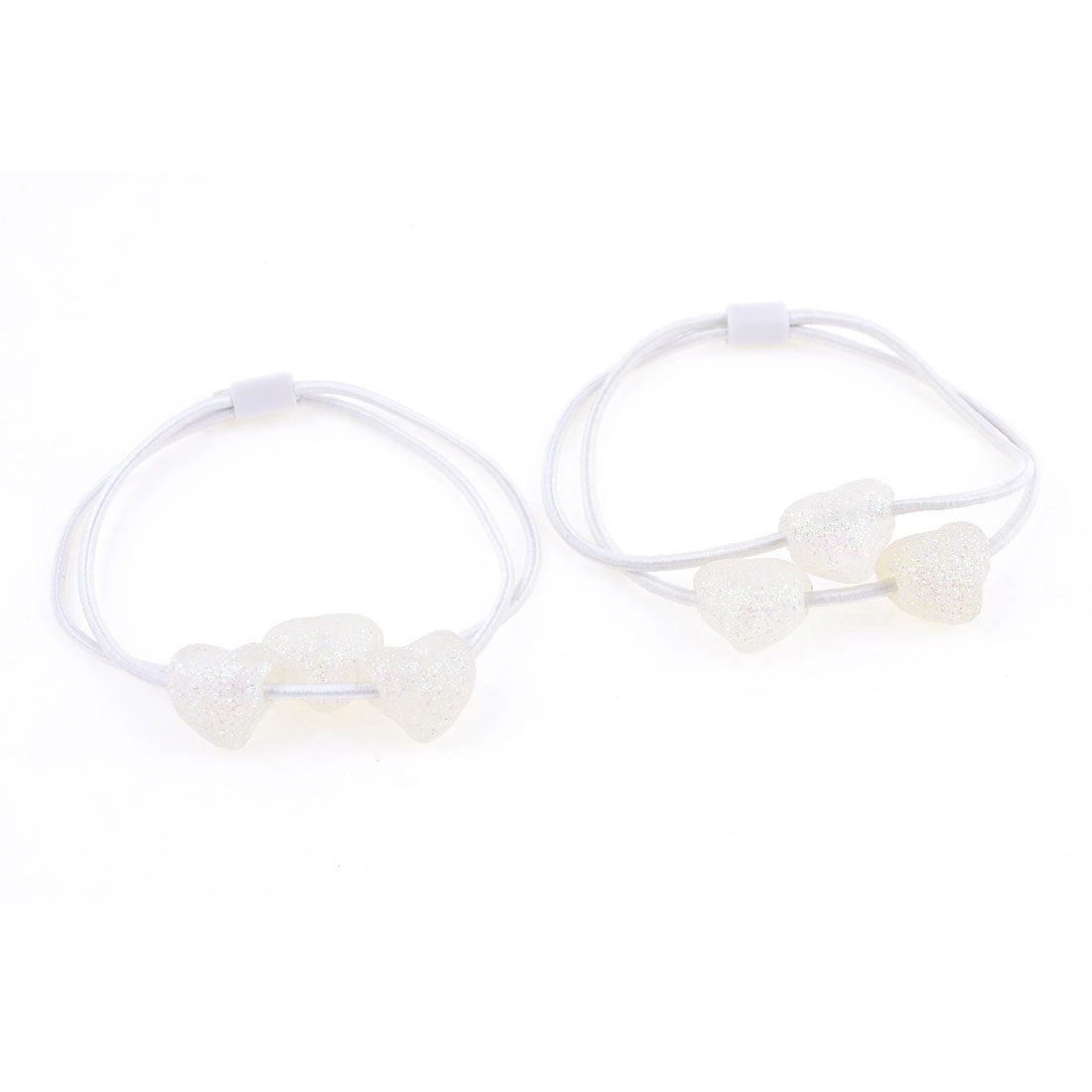 White Glittery Heart Bead Decorated Scrunchy Hair Tie Ponytail Holder Pair