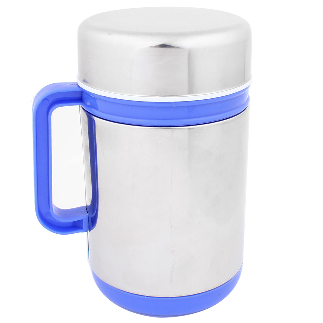 Blue Nonslip Plastic Handle Stainless Steel Shell 300ml Tea Cup Water Mug Silver Tone
