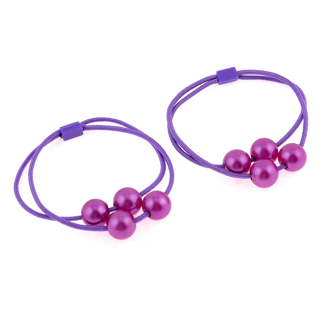 Purple Circular Bead Decor Elastic Hair Tie Ponytail Holder Pair
