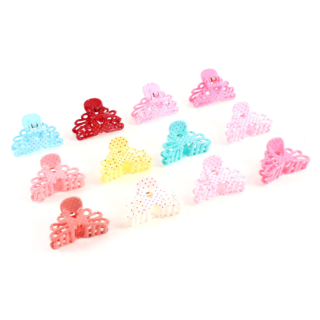 Hollow Out Dot Pattern Design Multicolor Plastic Hair Claw Clamp Clip 12 Pcs