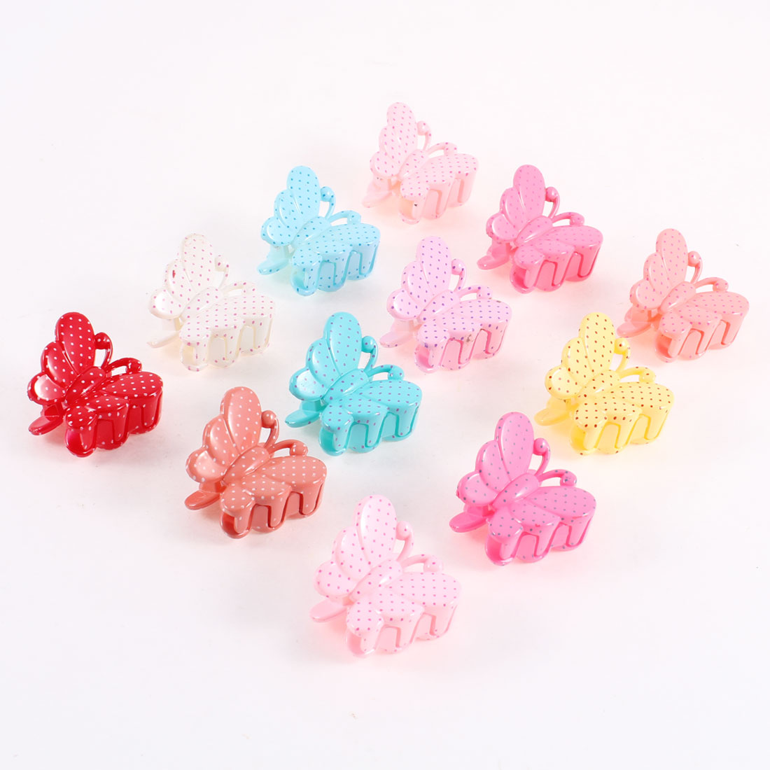 Butterfly Shape Assorted Color Plastic Hair Claw Clamp Clip 12 Pcs