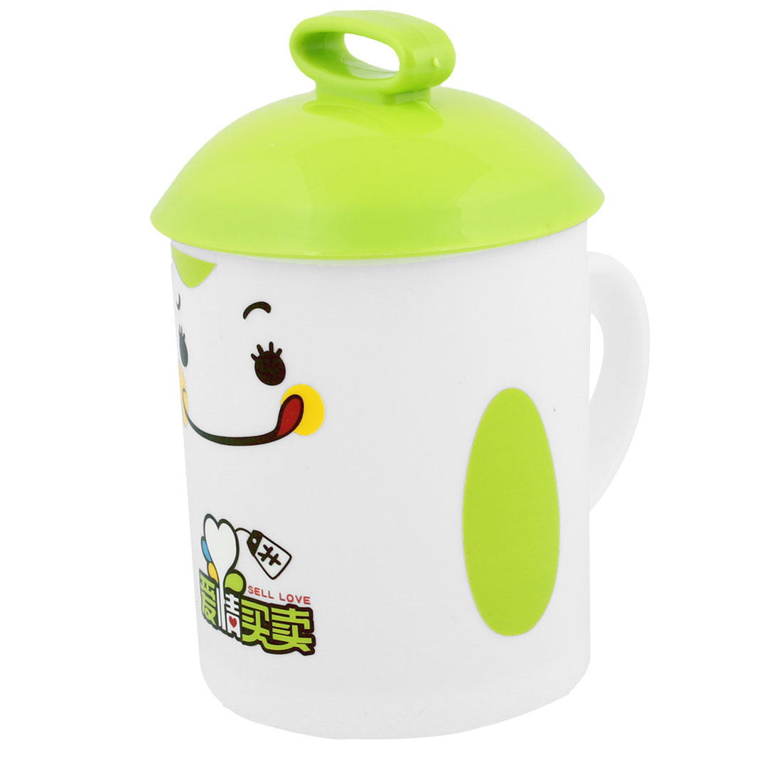 Green White Plastic Smiling Face Pattern Cup w Cover