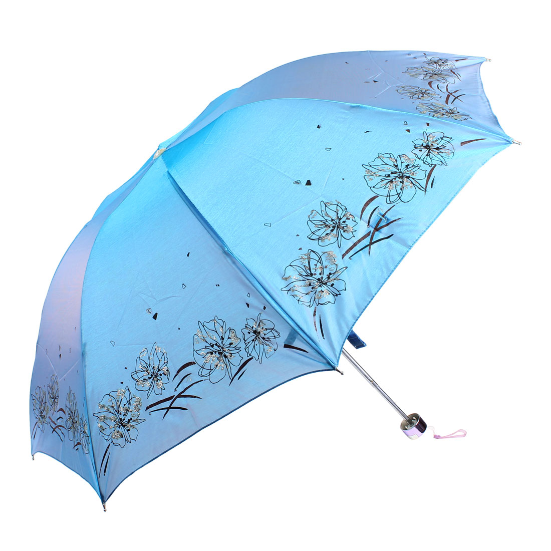 Protect Against UV Portable Floral Pattern Blue Sun Umbrella w Pouch