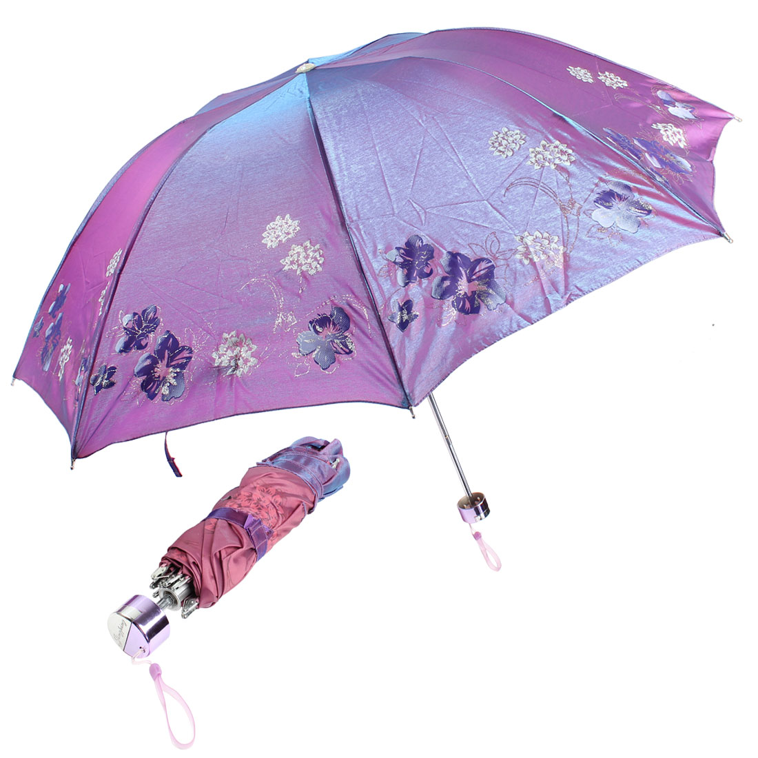 Portable Folding Flower Printed Purple Sun Umbrella w Pouch