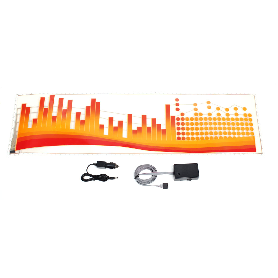 Dot Pattern Car Sound Music Control Equalizer Red Orange Flash Light Sticker