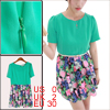 Lady Scoop Neck Floral Prints Belted Green Dress XS