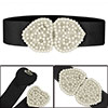 Black Elastic Fabric Imitation Pearl Rhinestone Decor Belt for