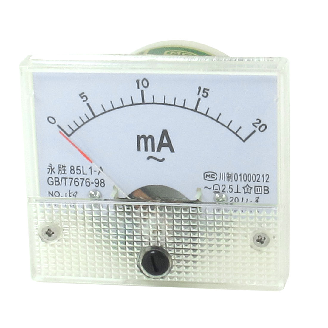 Class 2.5 85L1-A AC 0-20mA Rectangle Analog Ampere Meter Ammeter