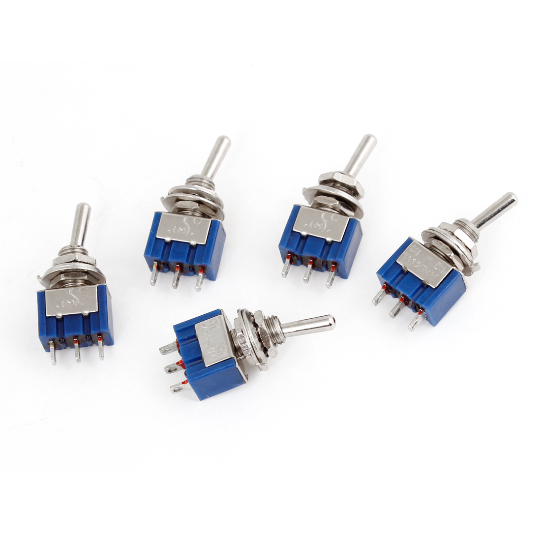 AC 125V 6A SPDT On/On 2 Position 3 Pins Terminals Miniature Toggle Switch 5 Pcs