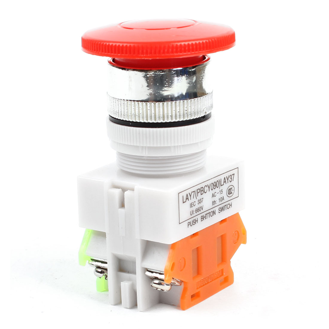 Panel Mounting Red Momentary Push Button Switch AC 660V 10A 1NO 1NC