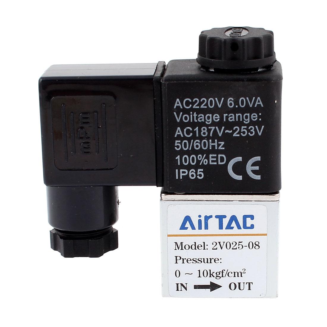 "Direct Drive Type 1/4""PT 2 Position 2 Port Gas Air Solenoid Valve 220VAC 6VA"