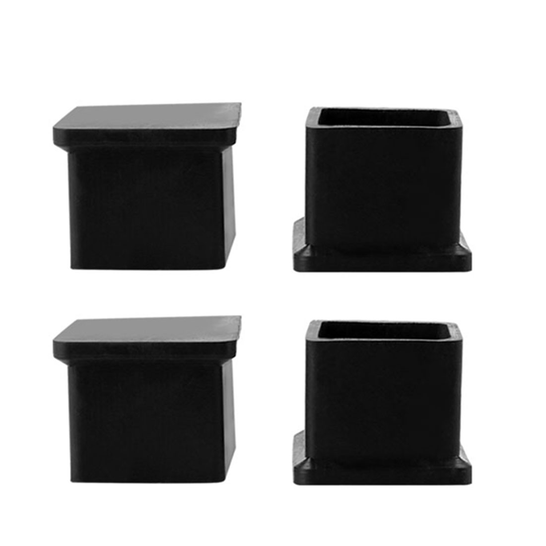 20mm x 20mm Black Square Chair Table Rubber Foot Covers 4 Pcs