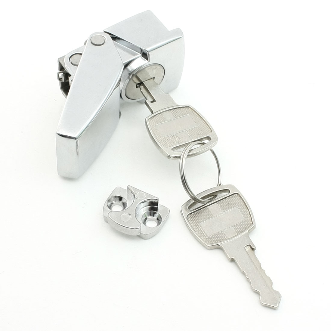 Hardware Silver Tone Keyed Lock for Showcase Cabinet Glass Door