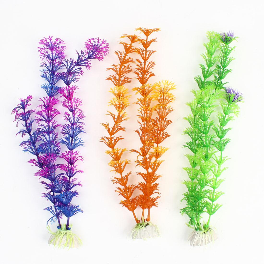 """3Pcs Aquarium Tank Multicolor Plastic Grass Plant Decoration 10.6"""" Height"""