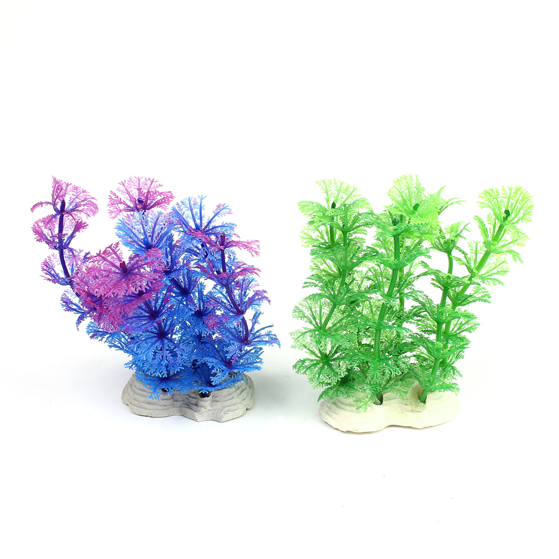 2Pcs 12cm Height Purple Green Blue Plastic Underwater Plant Fish Tank Decoration