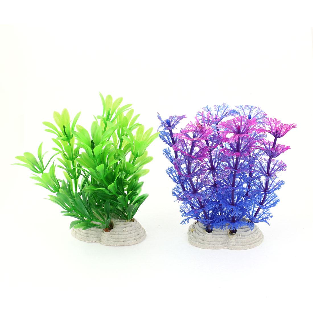 2Pcs 12cm Height Fuchsia Green Blue Plastic Underwater Plant Fish Tank Decoration