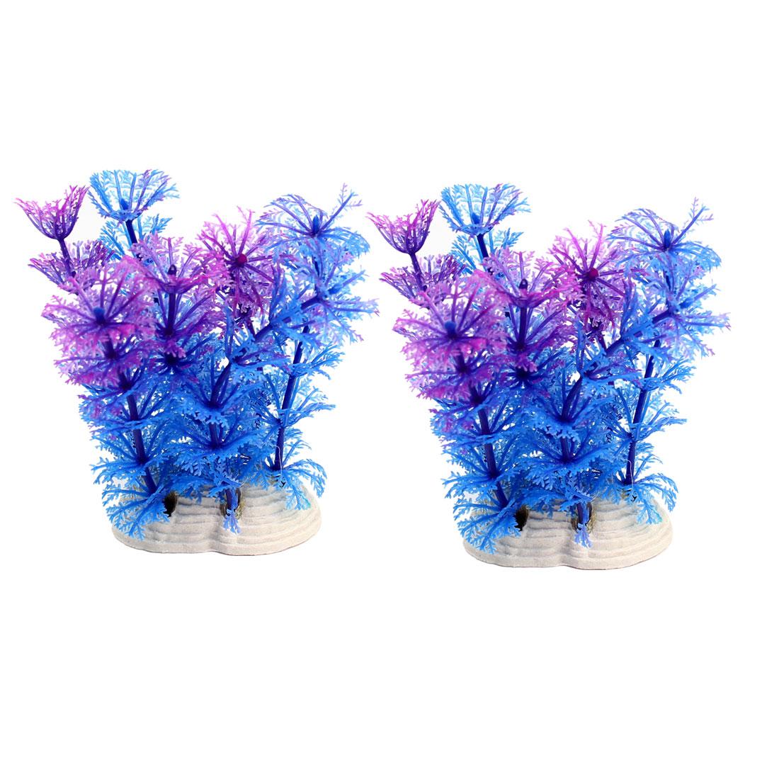 Aquarium Fishtank Decor Ceramic Base Purple Blue Underwater Plant 12cm 2Pcs
