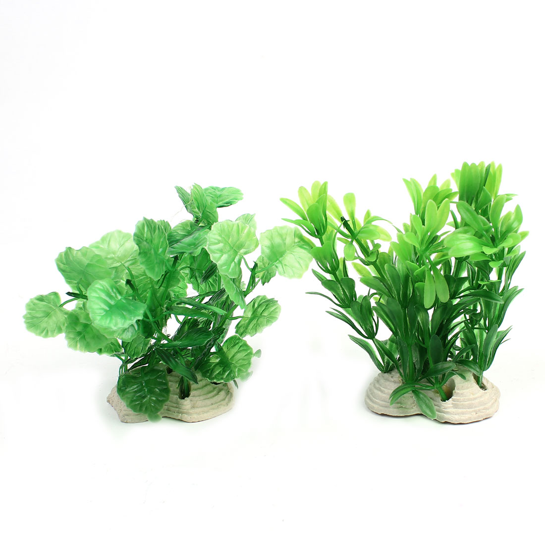 Aquarium Fishbowl Decor Green Leaves Plastic Underwater Plant 12cm 2Pcs