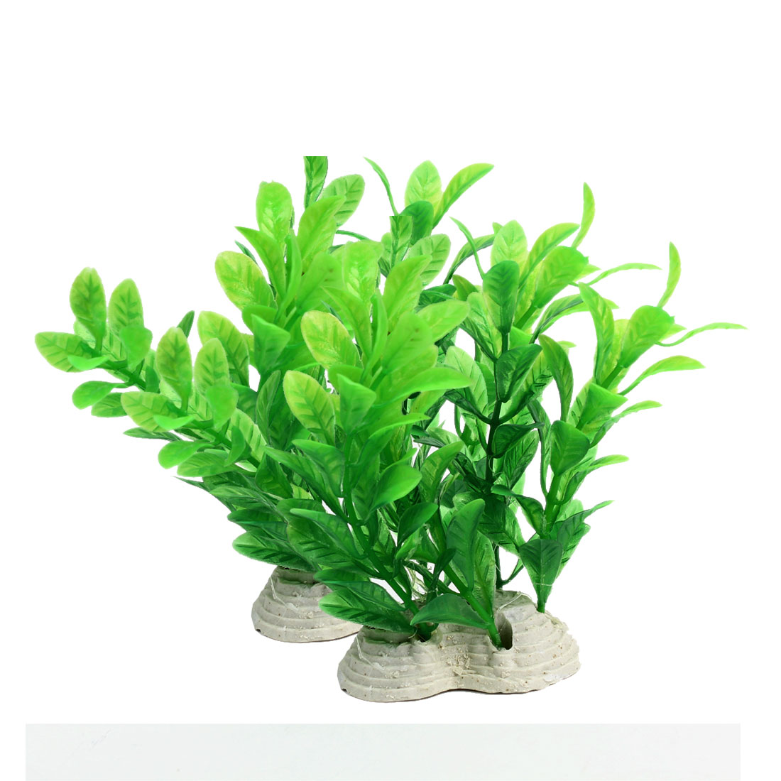 2Pcs 12cm Height Green Plastic Oval Leaves Underwater Plant Fish Tank Decoration