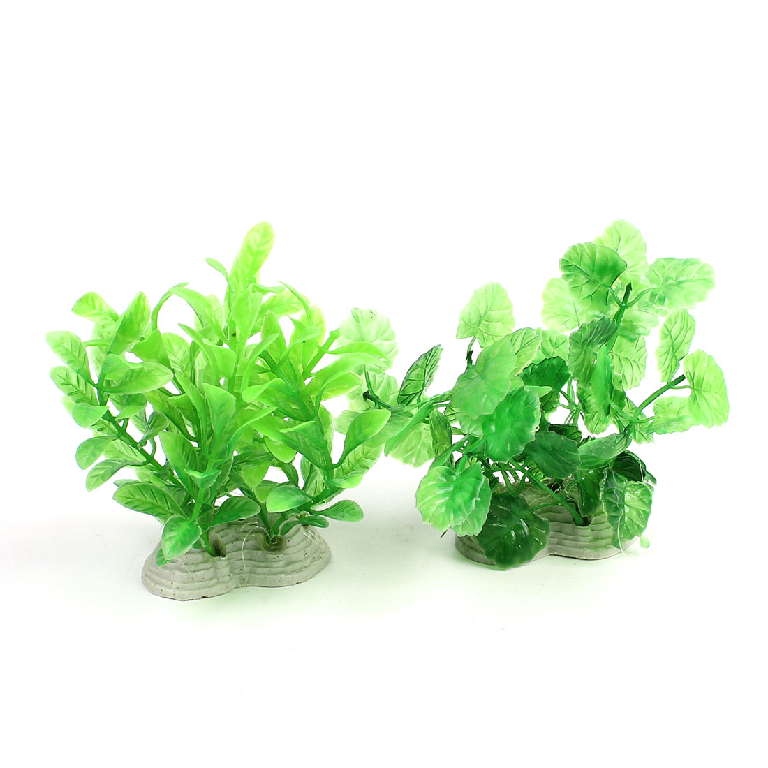 Fishtank Decor Ceramic Base Green Plastic Underwater Plant 12cm 2Pcs